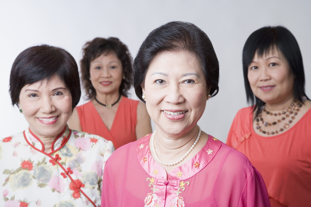 Older Asian Lady with younger women
